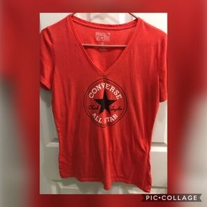 EUC CONVERSE Red V Neck Fitted Tee - Size Large